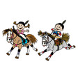 girl and boy riding ponies vector image vector image