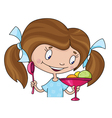 girl and ice cream vector image vector image