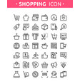 line thin shopping icons vector image vector image