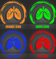 Lungs icon Fashionable modern style In the orange vector image vector image