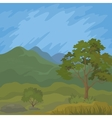 Mountain landscape with tree vector image