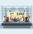 music performance on stage with young musicians vector image vector image