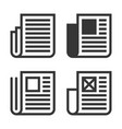 newspaper line icon set on white background vector image