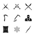 ninja equipment icons set simple style vector image