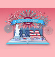 open book with city landscape and firework vector image
