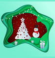 paper art depth concept of christmas with snowman vector image vector image