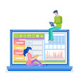 people working analysis and data online vector image