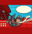 pilot man in plane love valentines day vector image vector image