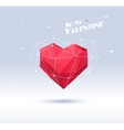 Red origami heart on white background with shadow vector image