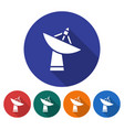 round icon of radar telescope flat style with vector image