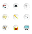Science education icons set flat style vector image vector image