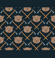 seamless native american pattern with bears and vector image