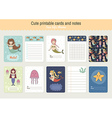 Set of Cute Printable Cards and Notes vector image vector image