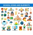 Set of school college flat design icons and vector image