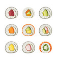 set sushi rolls with various vector image vector image