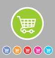 shopping cart icon flat web sign symbol logo label vector image vector image