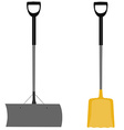 Snow shovel grey and yellow vector image
