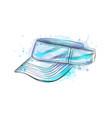 tennis cap visor cap from a splash of watercolor vector image