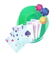Texas holdem poker game cards and chips over vector image vector image