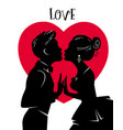 valentines day card lovers kiss love vector image vector image