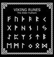 viking runes elder futhark alphabet vector image