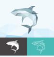 white shark sea animals low poly logo icon symbol vector image