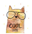 with funny cat in a glasses vector image