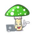with laptop green amanita mushroom character vector image vector image