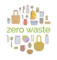 zero waste plastic free go green flat concept vector image