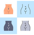 abdominal cramps and pain icon set in flat and vector image