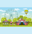 an amusement park in summer vector image