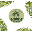 banner with palm leaves vector image vector image