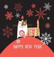 Beautiful Russian cat Happy New Year vector image