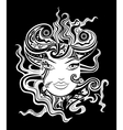 Black and white woman face vector image vector image