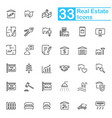 black real estate line icons vector image