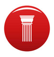 building column icon red vector image vector image