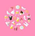 cartoon wedding symbols round design template ad vector image