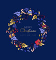 christmas and new year cute gold icon wreath card vector image vector image