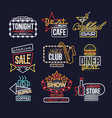 colorful glowing neon signboards set retro light vector image vector image