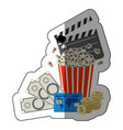 colorful sticker with popcorn cup with money and vector image vector image