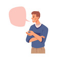 communication chat box man and empty speech bubble vector image vector image