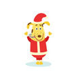 cute funny puppy dog character in santa suit vector image vector image