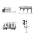 design of train and station icon vector image vector image