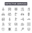detective services line icons signs set vector image vector image