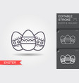 easter eggs line icon with editable stroke with vector image