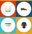flat icon dress set of underclothes male footware vector image vector image