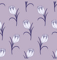 gentle flower seamless pattern with lilac crocuses vector image vector image