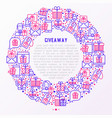 giveaway or gifts concept in circle vector image vector image