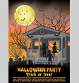 halloween kids costume party in front house vector image vector image