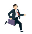 happy businessman running with case in his hand vector image
